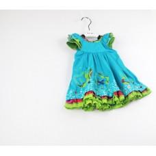 中小童連衣裙 歐美夏季新款荷葉邊撞色編織貼布繡連衣裙
